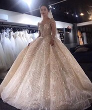 Luxury Summer Sexy Long Sleeve Beads Ball Gown Bling Wedding Dresses Bridal Gown Celebrity vestido De Noiva robe de mariee