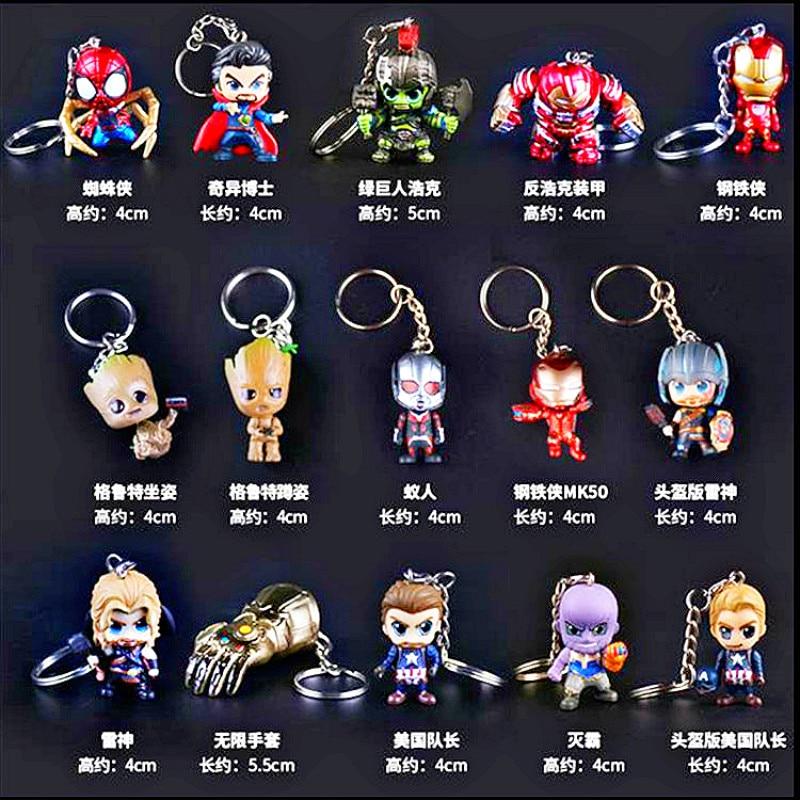 Marvel Avengers 30 Styles Hand Office Aberdeen Car Keychain Pendant Iron Man Thor Spiderman Groot Black Widow Hulk Thanos Toy