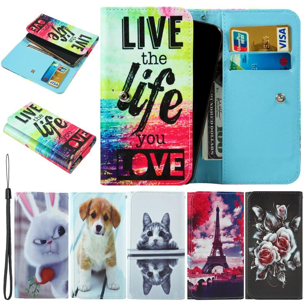 Para Panasonic Eluga A3 I4 Pro A4 I2 I5 I9 Pulse active I3 Mega Ray 500 pintado estilo de la cartera con la ranura para tarjeta funda bolsa de teléfono