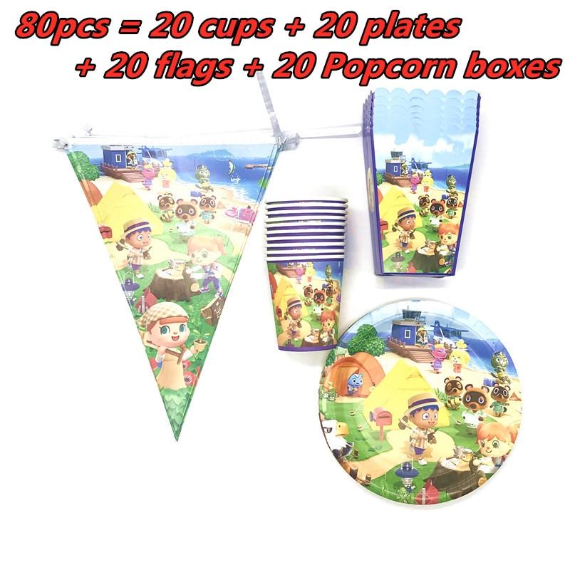 Suministros para fiestas de 80/40 Uds., caja de palomitas de maíz con motivo de Cruce de Animales, taza y plato de papel, caja de palomitas de maíz para una fiesta, decoración de ducha de bebé para cumpleaños 1 er