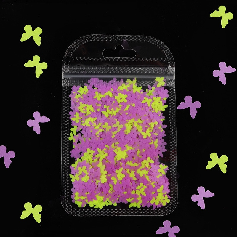 1 Bag Sparkly Butterfly Nail Sequins Paillette Colorful Nail Glitter Holographics 3D Flakes Slices Spangle Nail art Accessories