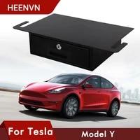 heenvn modely car under seat aluminium storage box for tesla model y accessories 2020