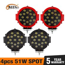 OKEEN 4pcs 51W led bar Work Light Working Spot Driving Light Bar For Off road UTE 12V 24v led 4X4 4WD SUV Truck for Jeep