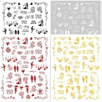 newest cb 204 design 3d nail sticker back glue nail decal stamping template diy nail decoration accessory