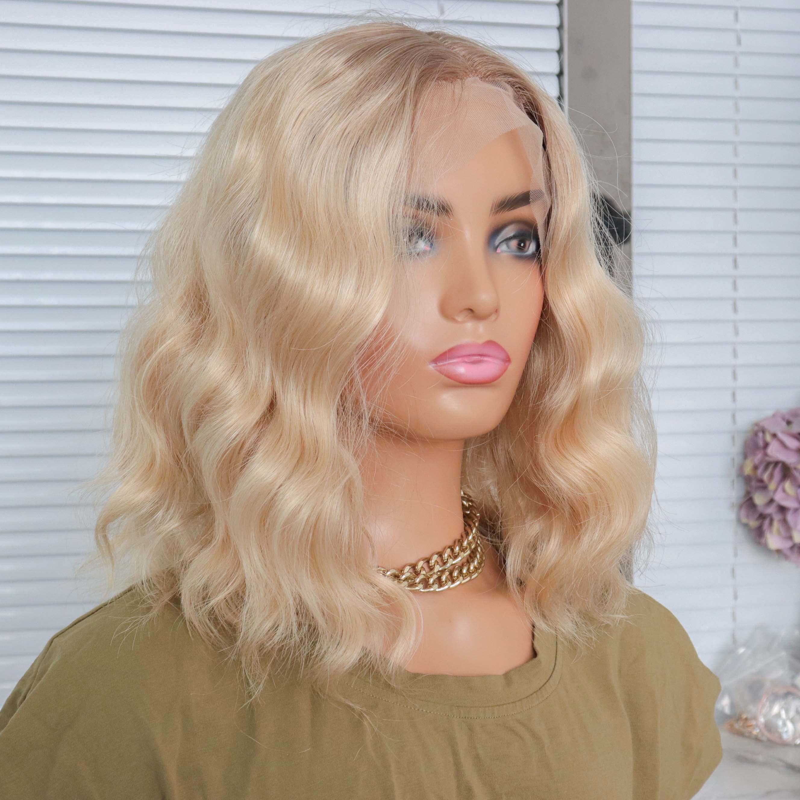 Wavy Light Brown Roots Blonde Synthetic Wigs 613 Color Short Water Wave Bob T Part Wigs For Black Women Middle Part Daily Use