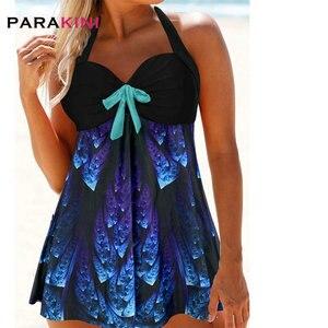 PARAKINI Summer Backless Print Tankini Tummy Control Two Piece Bathing Suit Plus Size Halter Asymmetric Hem Open Back Swimdress
