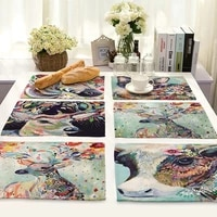 3242cm rectangular placemats painted art pattern table dinner mat cotton linen pad bowl cup mat for banquet family home decor