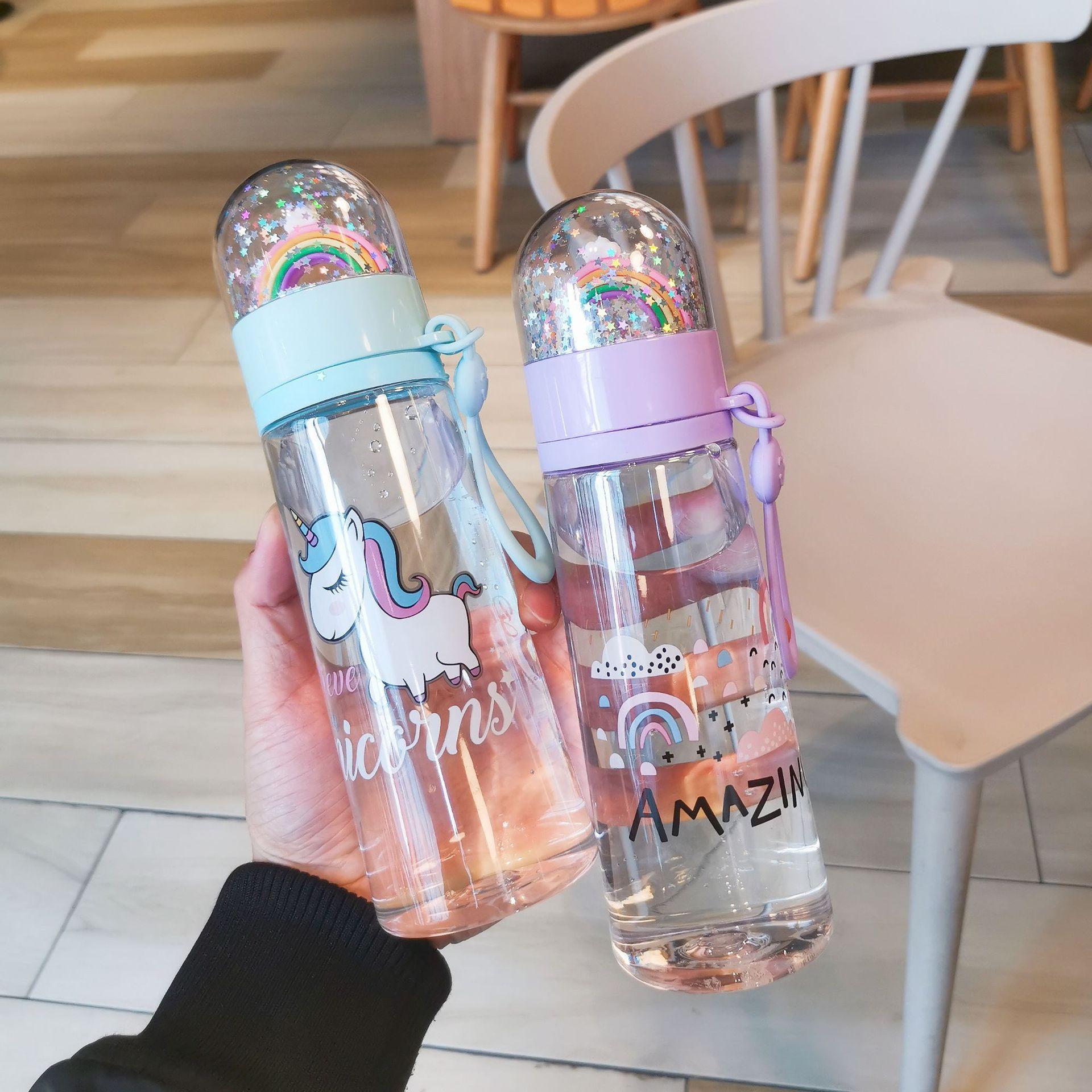 Water bottle cute unicorn creative micro landscape interesting design plastic water cup rainbow colo