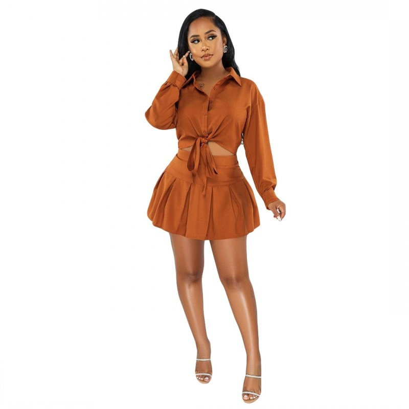 Sexy Ladies Short Skirt Suit Solid Color Long-Sleeved Shirt Slim Mini Skirt Two-Piece Set 2021 Autumn Casual Women's Clothing