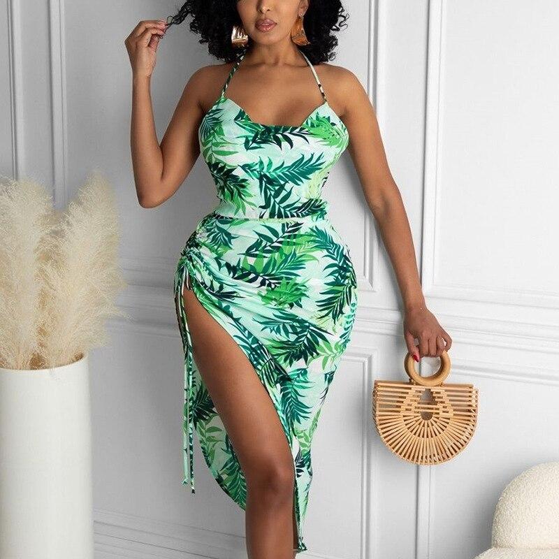 lace up back halter top with split skirt 2021 Summer Women's Sexy Printed Split Pleated Halter Halter Lace Sling Long Skirt Dress Dress for Women  Dresses Women