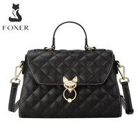 foxer classic women top handle bags soft cow leather lady shoulder handbag commute large capacity purse female crossbody bag
