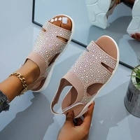 2021 new summer women sandals sexy shoes crystal casual woman flats buckle strap ladies fashion beach shoe big size 36 43