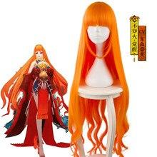 Onmyoji SSR Shiranui оранжевый градиент длинные волнистые косплей термостойкие синтетические волосы Хэллоуин карнавальвечерние + бесплатная шапочка для парика