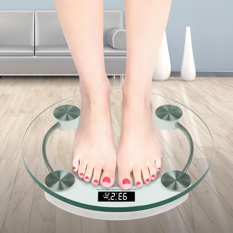Báscula de peso corporal de equilibrio transparente de forma redonda, báscula electrónica de pesaje, báscula Digital LED saludable portátil