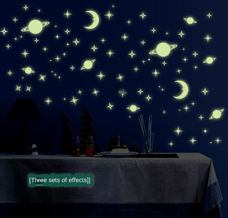 Pequeno universo céu estrelado diy adesivos luminosos pvc removível parede removível