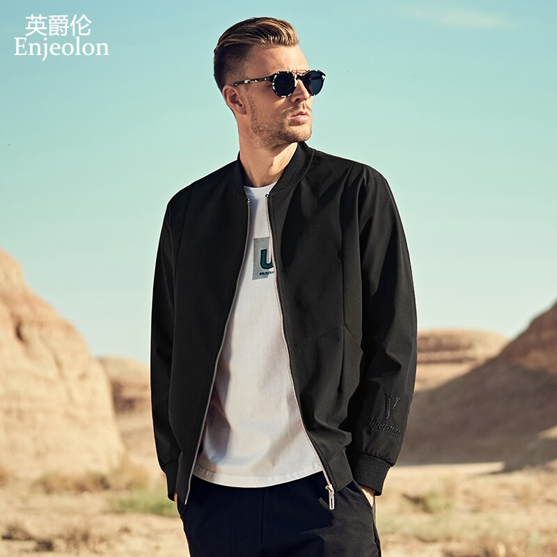 Enjeolon Brand 2020 Autumn Winter Bomber Jackets Men Black Solid Men Jacket Coats Stand Collar 3XL Jacket Clothes JK0353