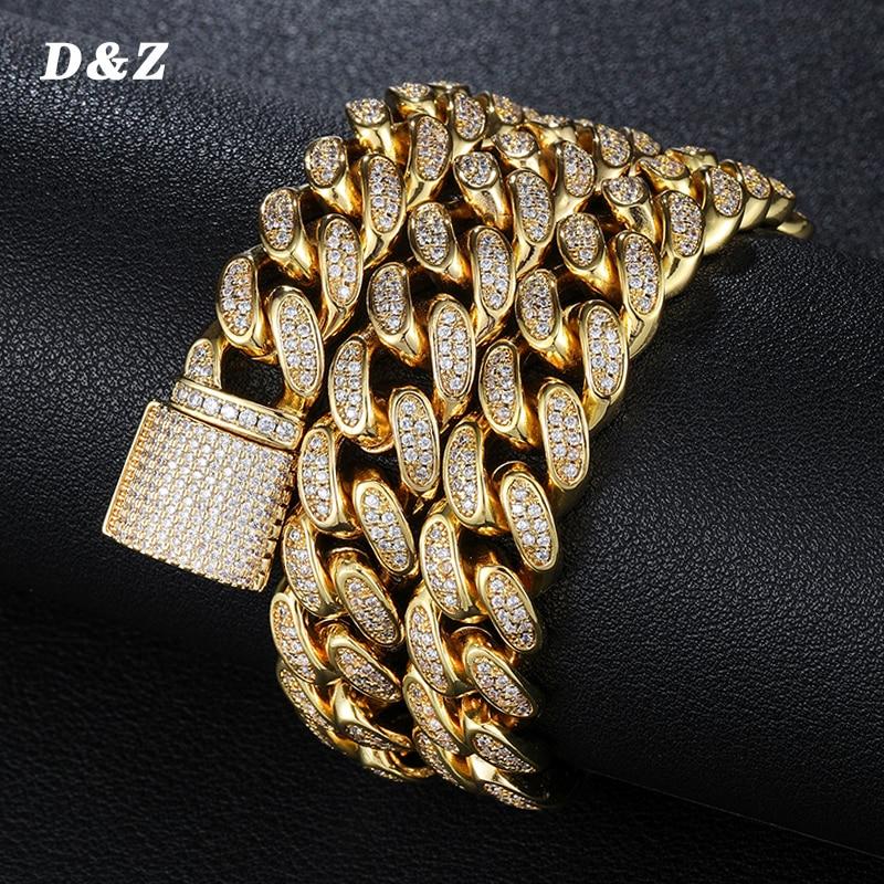 D & Z-عقد بسلسلة ربط كوبية من Maimi للرجال ، 12 مللي متر ، هيب هوب ، مطلي بالفضة ، ذهبي ، لامع ، زركون مكعب ، مجوهرات ، هدايا