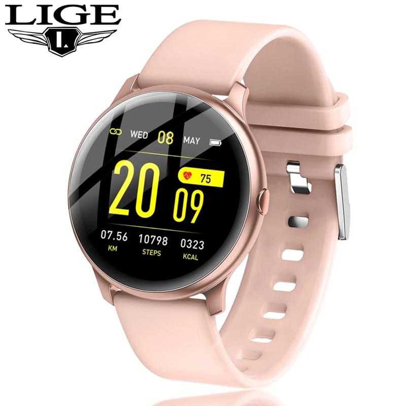 2020 New Color screen women sport smart watch Men women Fitness tracker For iPhone Heart rate blood