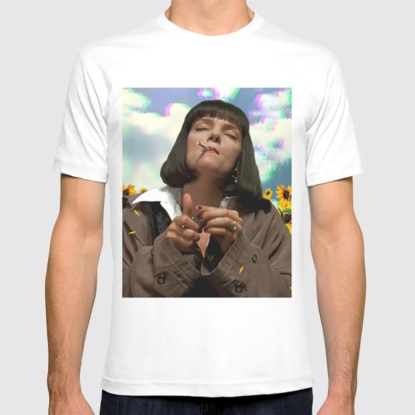 Camiseta de algún lugar más Mia Wallace girasoles Lsd drogas alta Mia madre belleza fumar