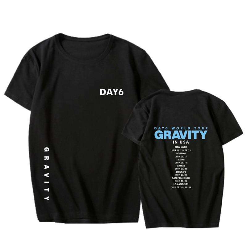 Verano estilo DAY6 World Album Tour GRAVITY impresión o-cuello de manga corta Camiseta Kpop Unisex Loose T-shirt Lovers Top Tees PT1163