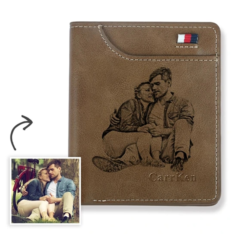 Engraving Wallet Custom Of Picture Men's Wallet Thin Men Purse Card Holder New Design Retro Men's Short Slim Retro Card Wallets