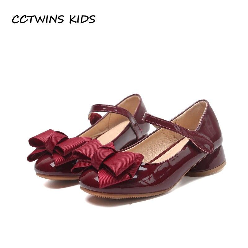 Cctwin الاطفال 2020 طفلة حفلة الأميرة طفل القوس الوردي بولي Pu أحذية جلدية الأطفال منتصف كعب طفل حذاء أسود أنيق G1126