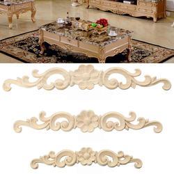 Madeira esculpida canto onlay applique estilo europeu porta móveis gabinete decoração estatuetas artesanato móveis escultura em madeira decorativa