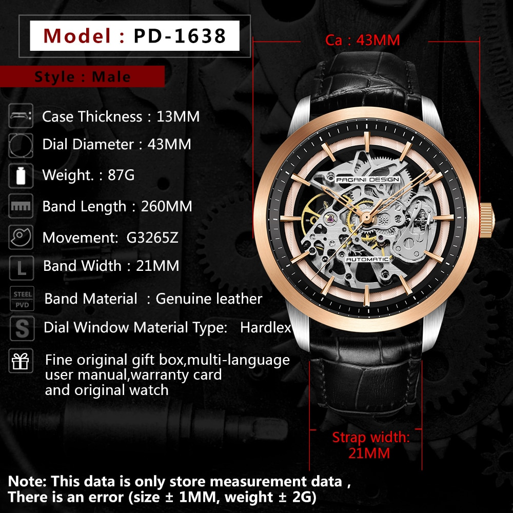 Pagani Design 2021  Men's Mechanical Watch Stainless Steel Automatic Waterproof Clock Leisure Fashion Leather Watch Reloj Hombre enlarge