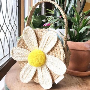 Round Flower Beach Bag Summer mini Vintage Handmade Crossbody Paper rope straw Bag Girls Circle Small Bohemian Shoulder Bags