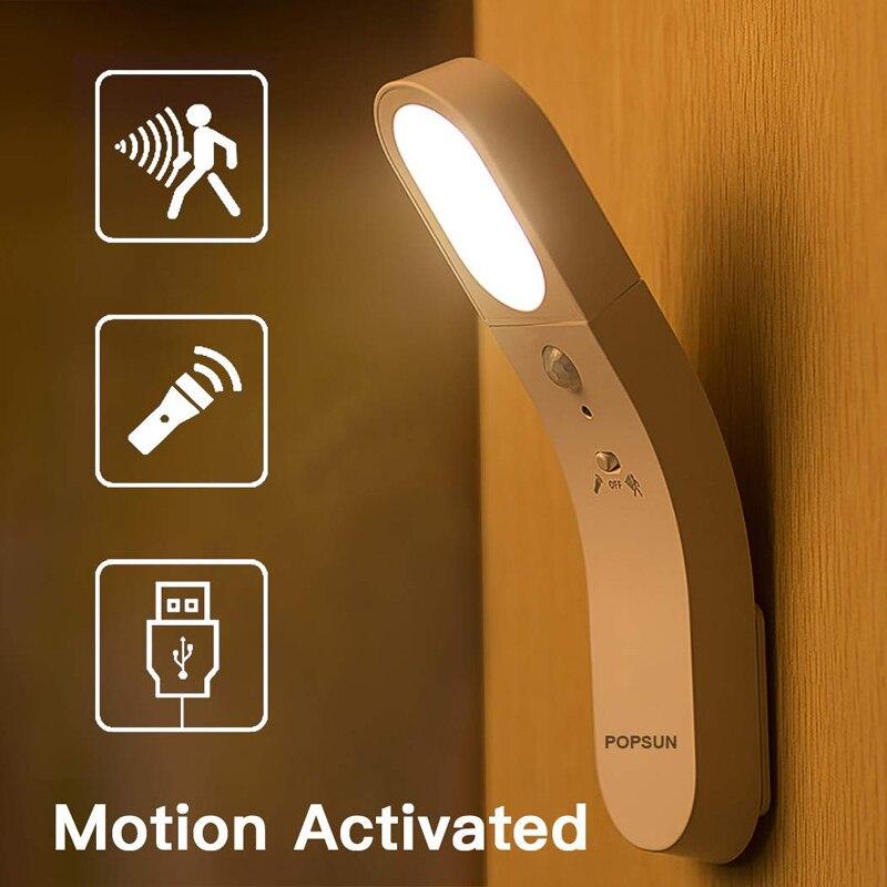 Linterna con Sensor de movimiento, lámpara de noche LED recargable por USB, luz nocturna alimentada por batería