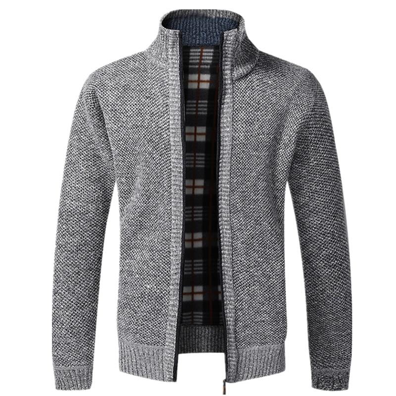 AIOPESON 2020 Autumn Winter New Men's Jacket Slim Fit Stand Collar Zipper Jacket Men Solid Cotton Thick Warm Jacket Men