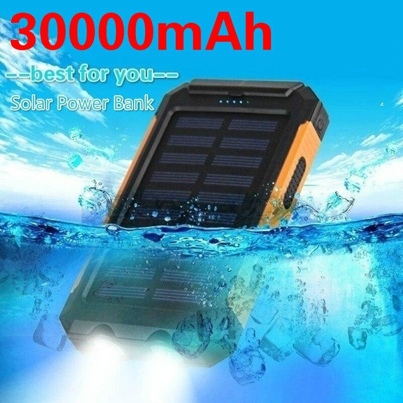 Banco de energía Solar 30000mAh batería de teléfono portátil de gran capacidad cargador de viaje al aire libre con iluminación LED USB Dual para Samsung xiaomi