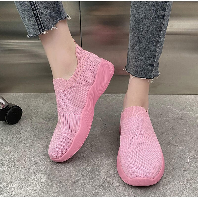 2021 Women Mesh Knitting Sneakers Casual Non-Slip Breathable Solid Color Comfort Light Females Walki