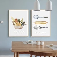 nordic cartoon bread beater poster gourmet baking kitchen wall art canvas painting for diningroom livingroom home decor