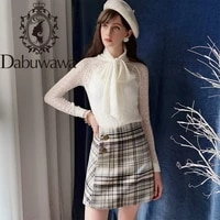 dabuwawa spring autumn vintage plaid skirt for girls office lady women new grey high waist button a line skirts female d18dsk014