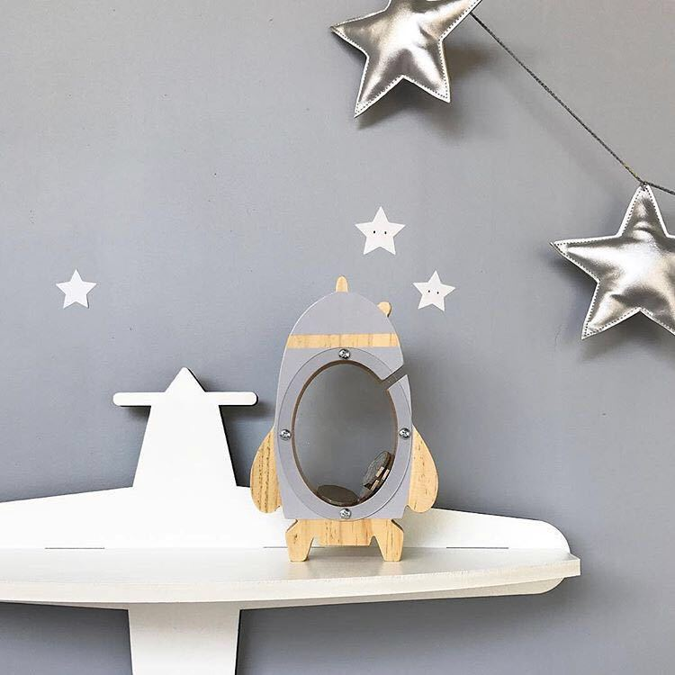Piggy Bank Saving Pot Decorative Crafts Home Decoration Acrylic Transparent Rocket Hollow Piggy Bank Children's Gifts