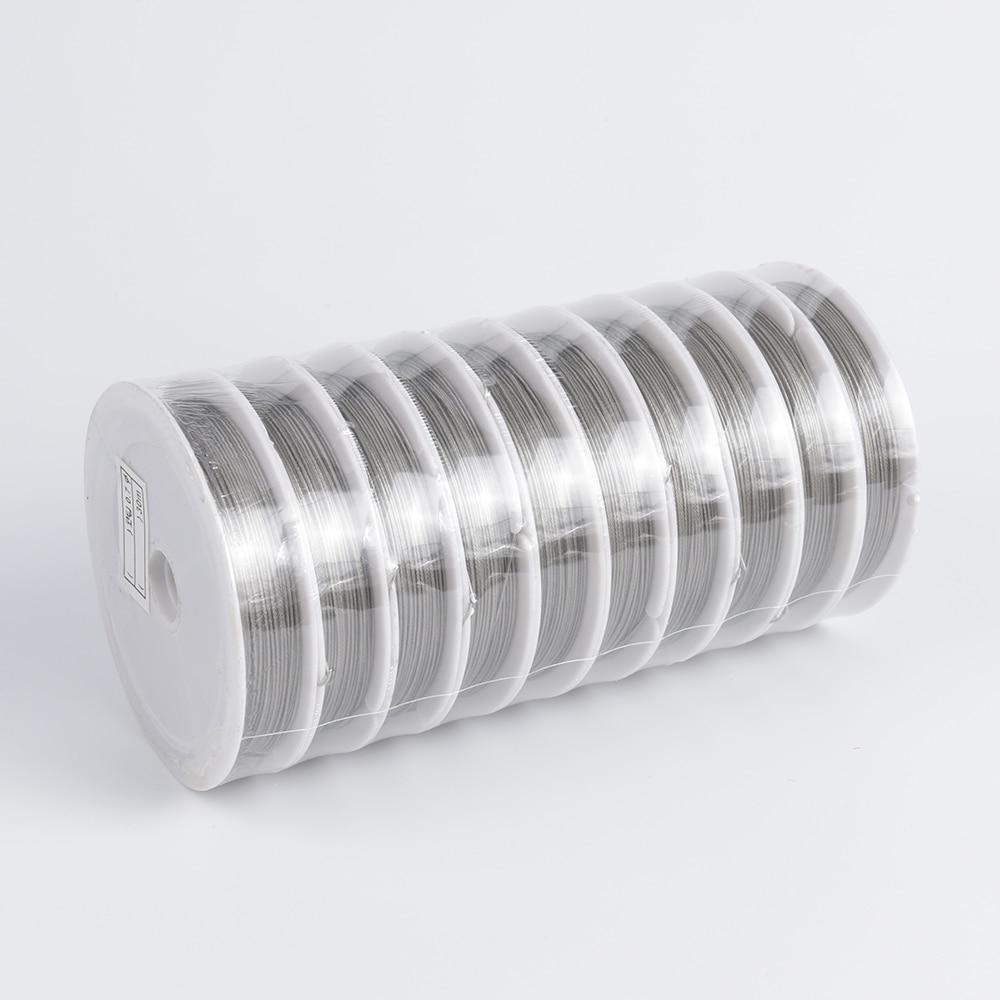 1 rollo/lote de alambre para bisutería de acero inoxidable de 0,3-0,8mm, cola de tigre para fabricación de joyas, accesorios