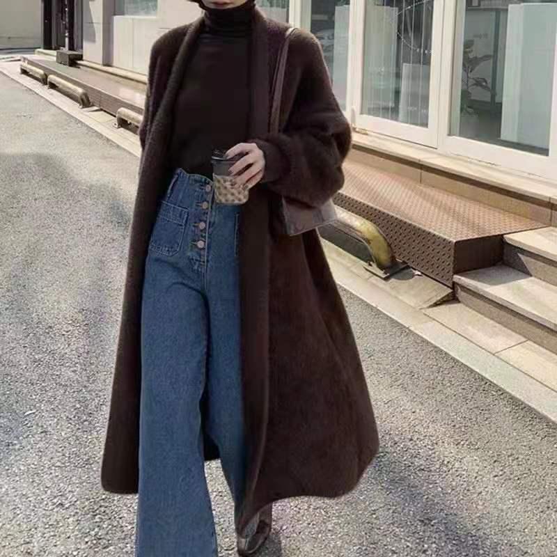 2021 الخريف والشتاء جديد المرأة تقليد المنك المخملية منتصف طول سترة معطف المرأة فضفاض سترة منسوجة تريكو معطف لباس خارجي