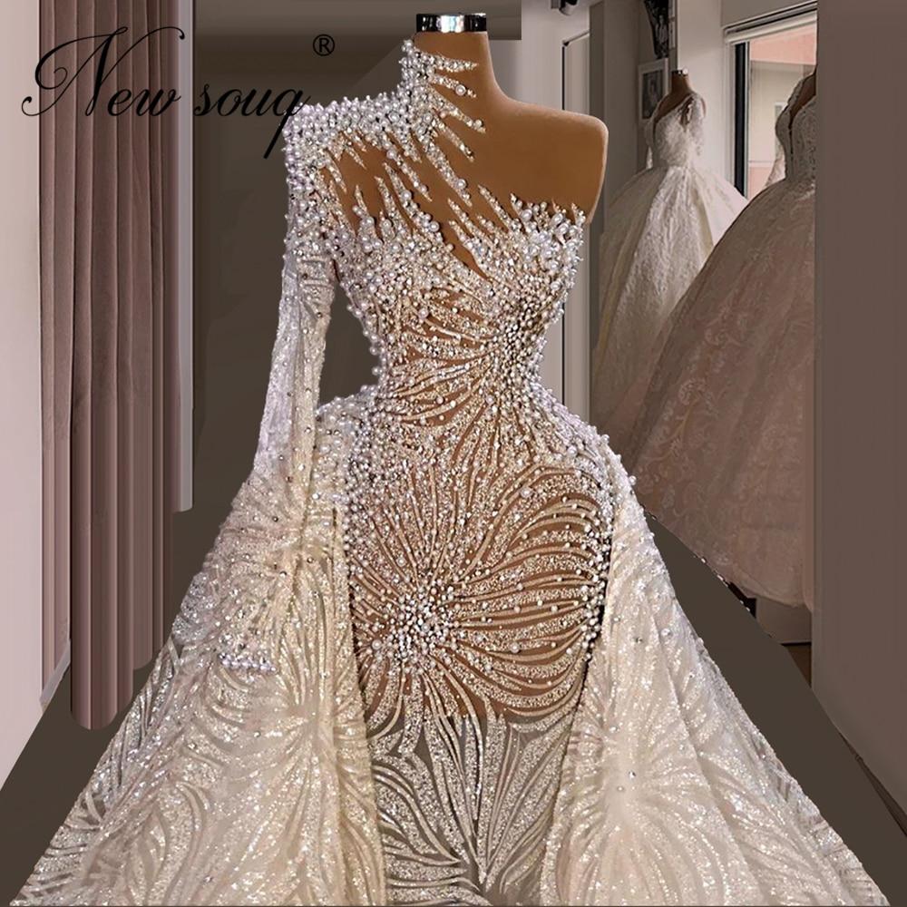 فستان سهرة من Haute Dubai لؤلؤي لحفلات الزفاف 2021 مقاس كبير للحفلات الراقصة الماسية الشرق الأوسط مخصص من Vestidos للمشاهير