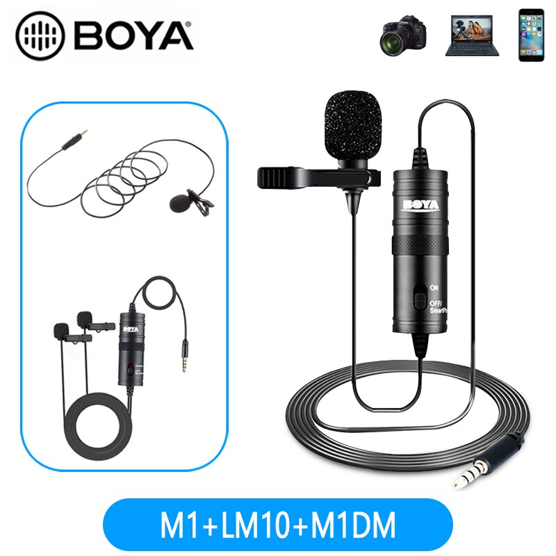 BOYA BY-M1DM/M1/LM10 Audio Video Rekord Lavalier-mikrofon Clip Auf Mic für iPhone Android Mac DSLR Podcast camcorder Recorder