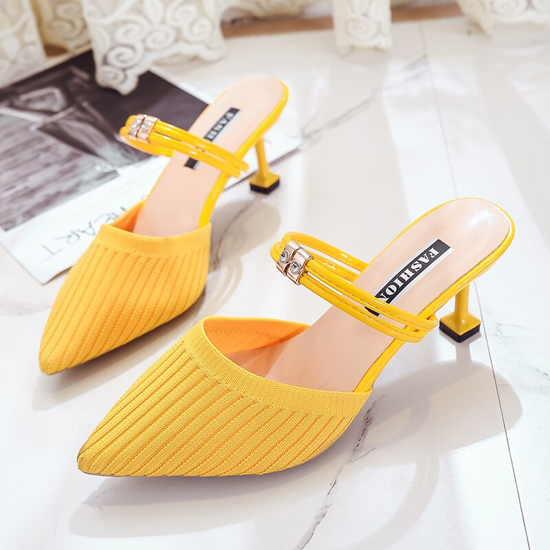 Sommer Frauen Sandalen High Heel Damen Hausschuhe Spitz Slip-on Frauen Büro Pumpen Frauen Casual Schuhe alias mujer