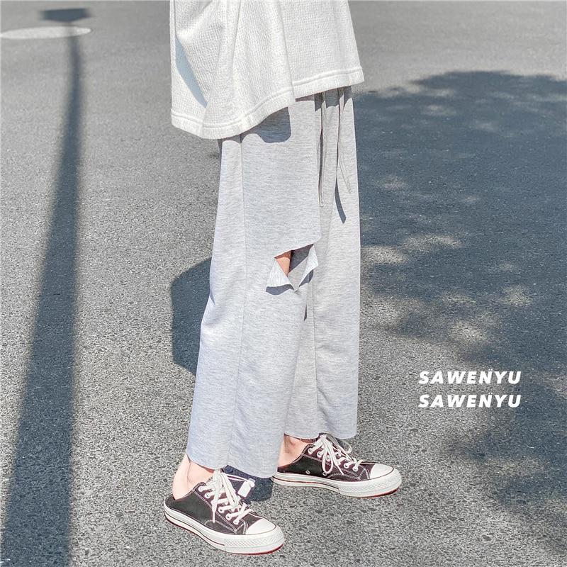 Cotton Ripped Casual Pants Men's Fashion Solid Color Drawstring Joggers Pants Men Streetwear Hip-hop Loose Hole Trousers Mens