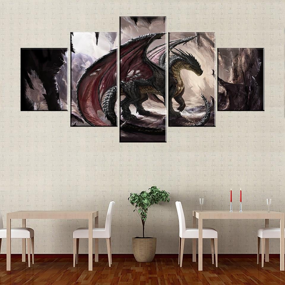 Póster de 5 piezas, pintura al óleo abstracta, arte de la pared, imágenes de lienzo de dragón chino para decoración de sala de estar, arte de fantasía para decoración del hogar