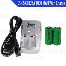 2 x CR123A 3.0v 1000mAh CR123 16340 17335 akumulator + CR123A ładowarka