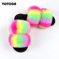faux fur women slippers furry two sangles slides home flip flops fluffy plush house shoes female cute winter warm slip on shoes
