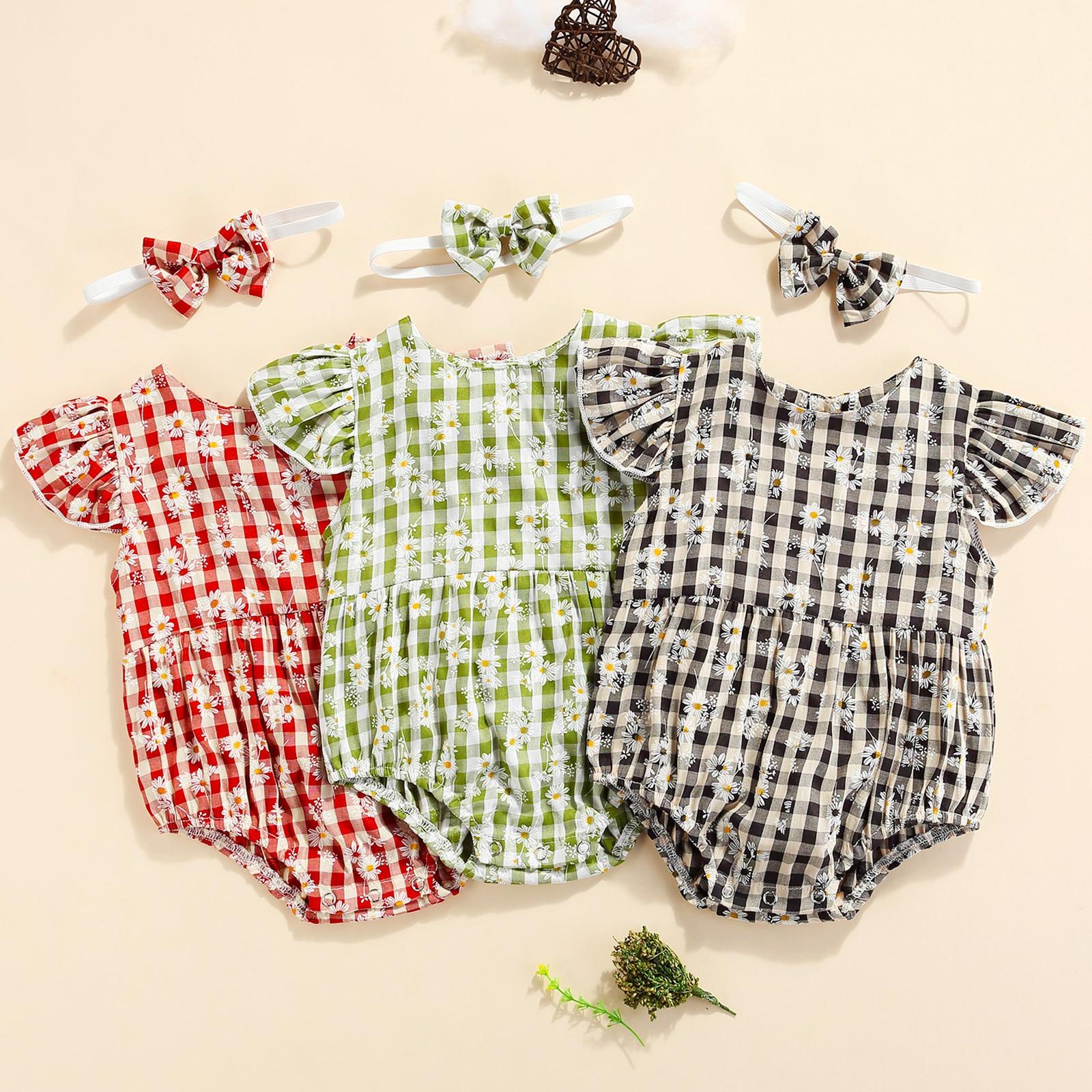 3 Colors Plaid Floral Printed Ruffles Sleeve Jumpsuits Headband 0-24M Summer Baby Girls Boys Sweet Rompers