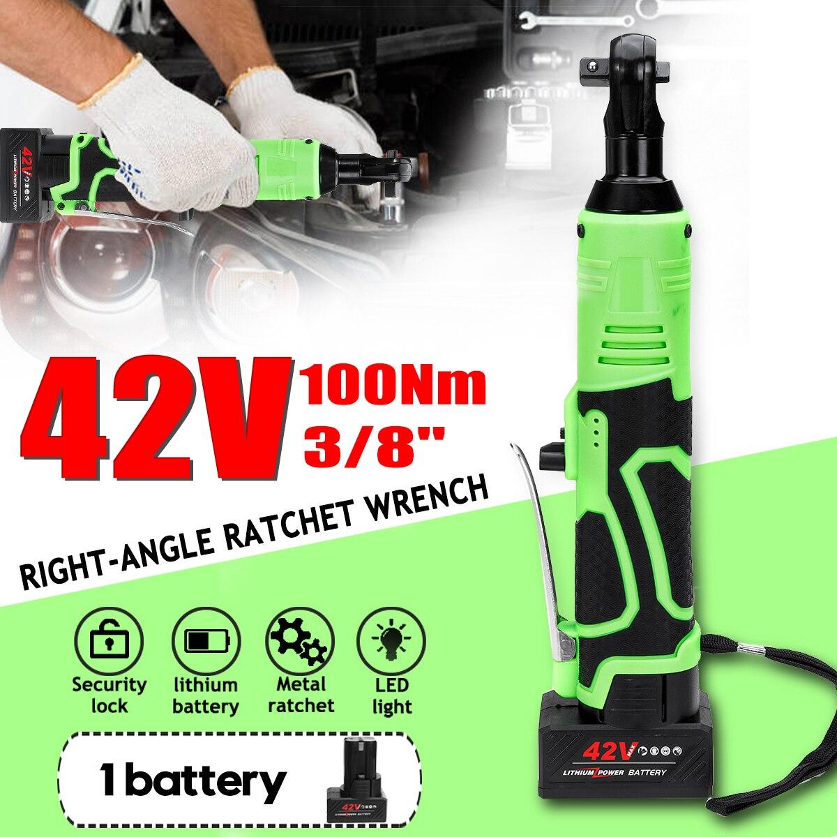 Llave de carraca eléctrica inalámbrica de 42V, 100NM 3/8, destornillador de ángulo recargable, llave para andamios con 2 baterías