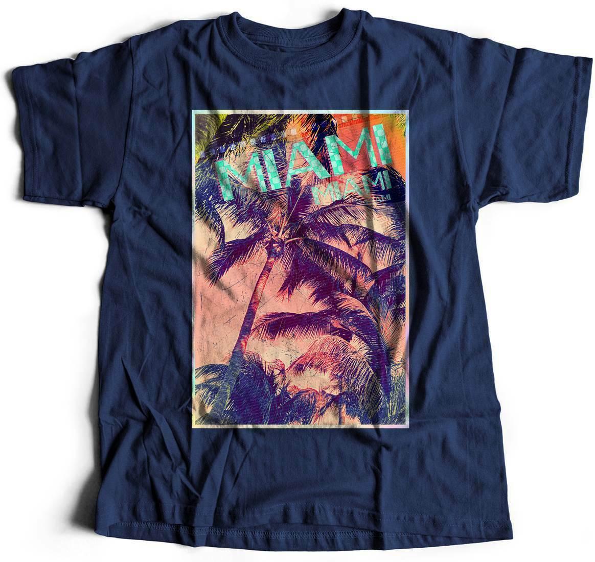 Miami Art T-Shirt Holiday Palms Summer Sexy Beach Sun Sea Fashion Florida J A877
