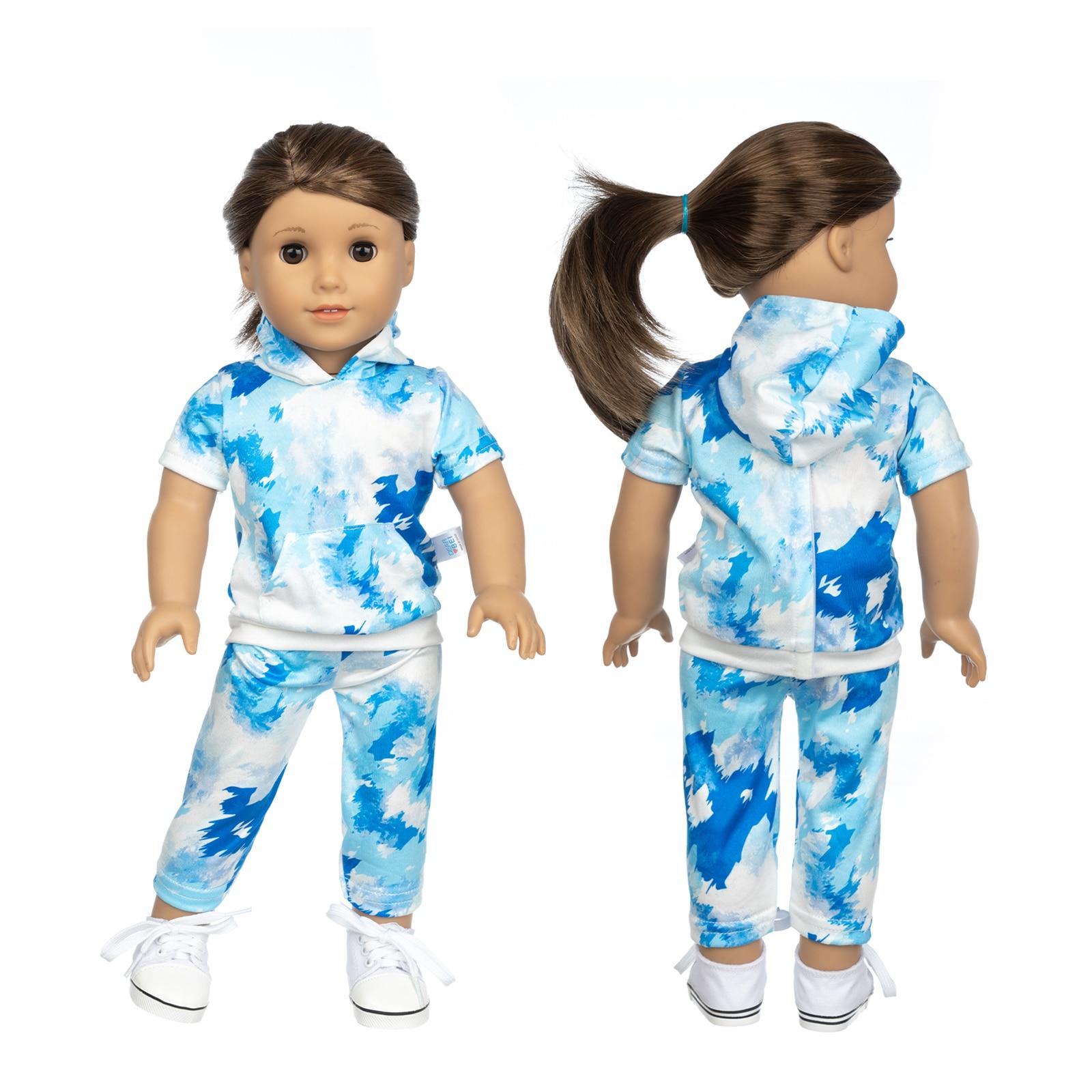 Fit 18 дюймов для новорожденных куклы одежда аксессуары синий контраст One Piece домашняя одежда для малышей подарок на день рождения