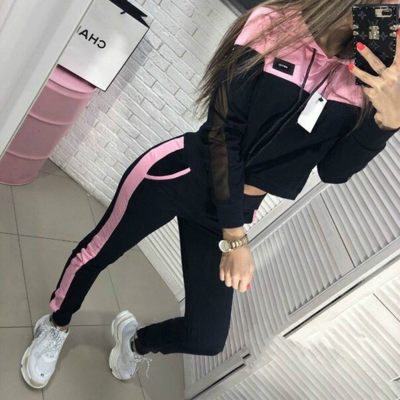 2019 Female Tracksuits Women Clothing Tops Sweatshirt+Solid Long Pants Suits Women Sets 2pcs Sets Casual Hooded Big Sweety